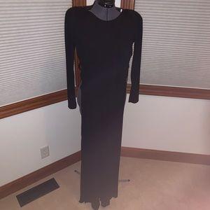 Long-Sleeve Black Knit Dress w/ Cut-Out Sides L